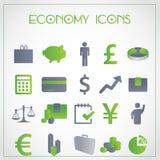 Icone di economia Fotografia Stock