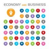 Icone di economia 50 e della bolla di affari Fotografia Stock Libera da Diritti