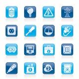 Icone di elettricità, di potere e di energia Immagini Stock