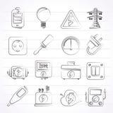 Icone di elettricità, di potere e di energia Fotografia Stock