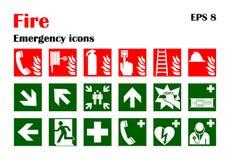 Icone di emergenza del fuoco Illustrazione di vettore Immagine Stock