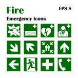 Icone di emergenza del fuoco Illustrazione di vettore Uscita di sicurezza Immagini Stock Libere da Diritti