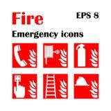 Icone di emergenza del fuoco Illustrazione di vettore Uscita di sicurezza Fotografia Stock