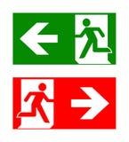 Icone di emergenza del fuoco Illustrazione di vettore Uscita di sicurezza Fotografia Stock Libera da Diritti
