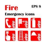 Icone di emergenza del fuoco Illustrazione di vettore Uscita di sicurezza Immagine Stock Libera da Diritti