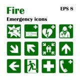 Icone di emergenza del fuoco Illustrazione di vettore Uscita di sicurezza Fotografie Stock
