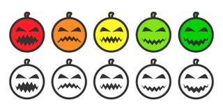 Icone di Emoji della zucca di Halloween Fotografie Stock Libere da Diritti
