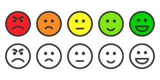 Icone di Emoji per il tasso di livello di soddisfazione Immagine Stock