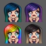 Icone di emozione che gridano femmina con i capelli lunghi per le reti sociali e gli autoadesivi Fotografia Stock