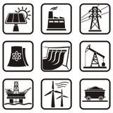 Icone di energia Fotografie Stock