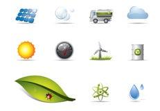 Icone di energia rinnovabile Fotografie Stock