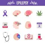 Icone di epilessia messe nello stile piano isolato su fondo bianco fotografia stock libera da diritti