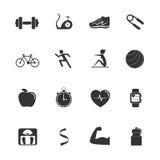 Icone di esercizio di forma fisica Fotografia Stock