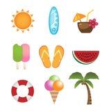 Icone di estate Fotografie Stock Libere da Diritti