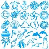 Icone di estate illustrazioni del colpo della spazzola Immagini Stock Libere da Diritti