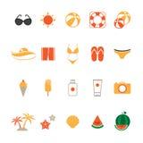 Icone di estate messe con fondo bianco Fotografia Stock