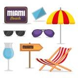Icone di estate di Miami Beach Fotografia Stock Libera da Diritti
