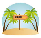 Icone di estate di Miami Beach Immagini Stock Libere da Diritti