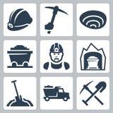 Icone di estrazione mineraria di vettore messe Fotografie Stock