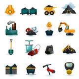 Icone di estrazione mineraria messe Fotografie Stock Libere da Diritti