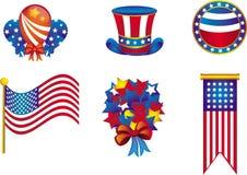 Icone di festa dell'indipendenza Fotografia Stock