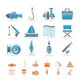 Icone di festa e di pesca Immagini Stock