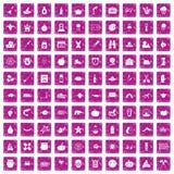 100 icone di feste di autunno hanno fissato il rosa di lerciume Immagini Stock Libere da Diritti