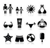 Icone di feste della spiaggia di estate messe Fotografie Stock