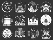 Icone di feste religiose di Islam il Ramadan e di Mubarak illustrazione vettoriale