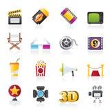 Icone di film e del cinematografo illustrazione di stock