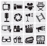 Icone di film impostate Fotografia Stock Libera da Diritti