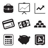 Icone di finanza Fotografia Stock