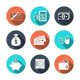 Icone di finanza con ombra Immagini Stock Libere da Diritti