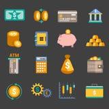 Icone di finanza dei soldi Fotografia Stock
