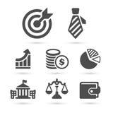 Icone di finanza di affari su bianco Vettore Immagini Stock