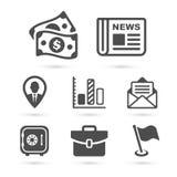 Icone di finanza di affari su bianco Vettore Immagini Stock Libere da Diritti