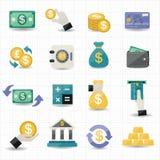 Icone di finanza e dei soldi Fotografie Stock Libere da Diritti