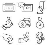 Icone di finanza e dei soldi per il pagamento Fotografie Stock