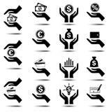 Icone di finanza e di affari Fotografia Stock