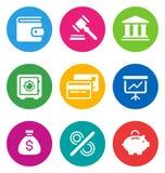 Icone di finanze di colore Fotografia Stock