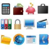 Icone di finanze e di affari Fotografia Stock