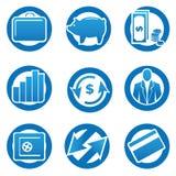 Icone di finanze e di affari impostate. illustrazione di stock