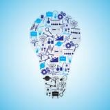 Icone di fisica messe nella forma della lampadina Immagini Stock Libere da Diritti