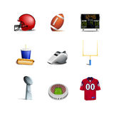 Icone di football americano Fotografia Stock