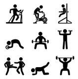 Icone di forma fisica Fotografie Stock