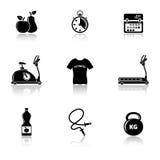 Icone di forma fisica con la riflessione Fotografia Stock Libera da Diritti