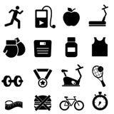 Icone di forma fisica, di salute e di dieta Fotografia Stock Libera da Diritti