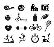 Icone di forma fisica e di esercizio Fotografie Stock Libere da Diritti