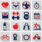 Icone di forma fisica e di salute Fotografie Stock Libere da Diritti