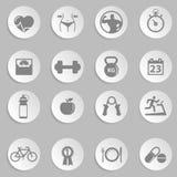 Icone di forma fisica e di salute Fotografia Stock Libera da Diritti